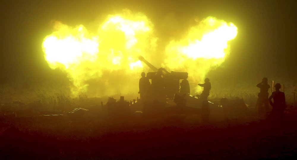 A night drill of ground artillery sub-units is seen in this undated photo released by North Korea's Korean Central News Agency (KCNA) on June 16, 2015
