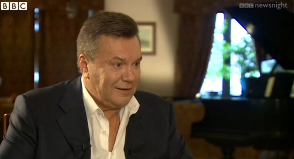 Viktor Yanukovych during his interview with BBC