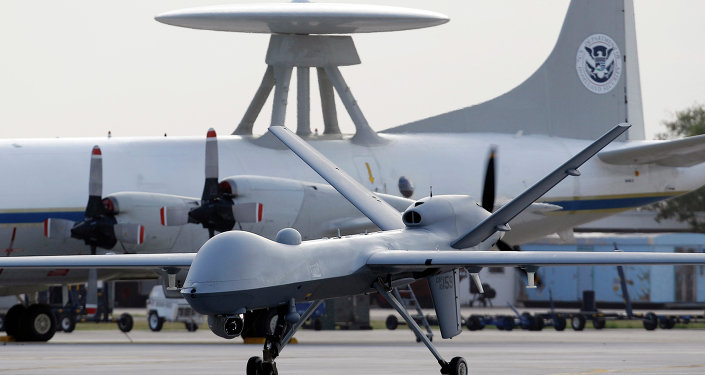 General Atomics MQ-9 Reaper unmanned aircraft taxis at the Naval Air Station in Corpus Christi, Texas.