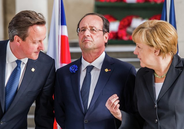 From left, British Prime Minister David Cameron, French President Francois Hollande and German Chancellor Angela Merkel