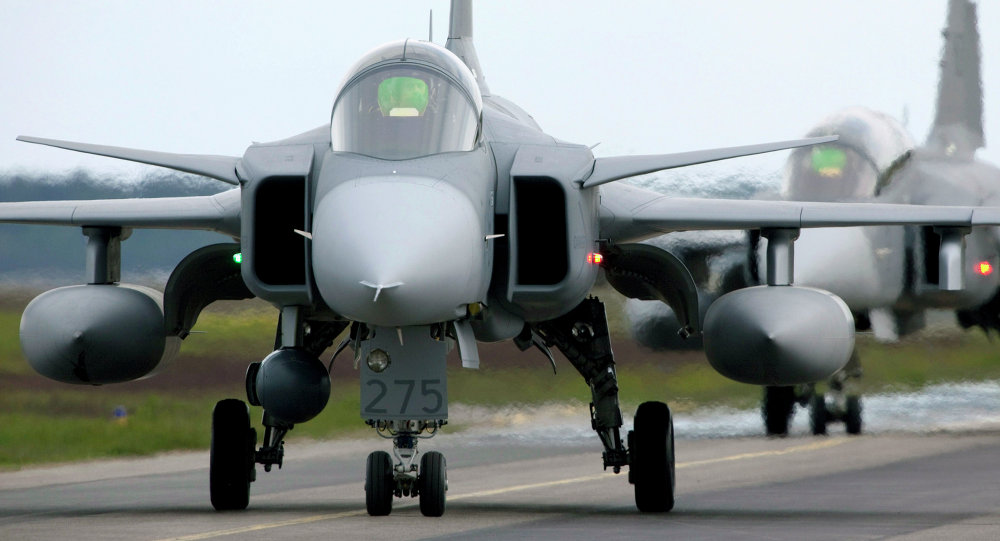 Saab JAS 39 Gripen (Griffin) fighter aircraft, these ones belonging to Sweden.