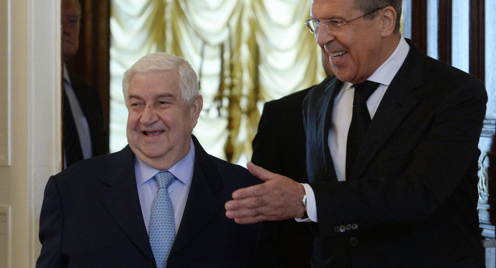 Russian Foreign Minister Sergei Lavrov meets with his Syrian counterpart Walid Muallem