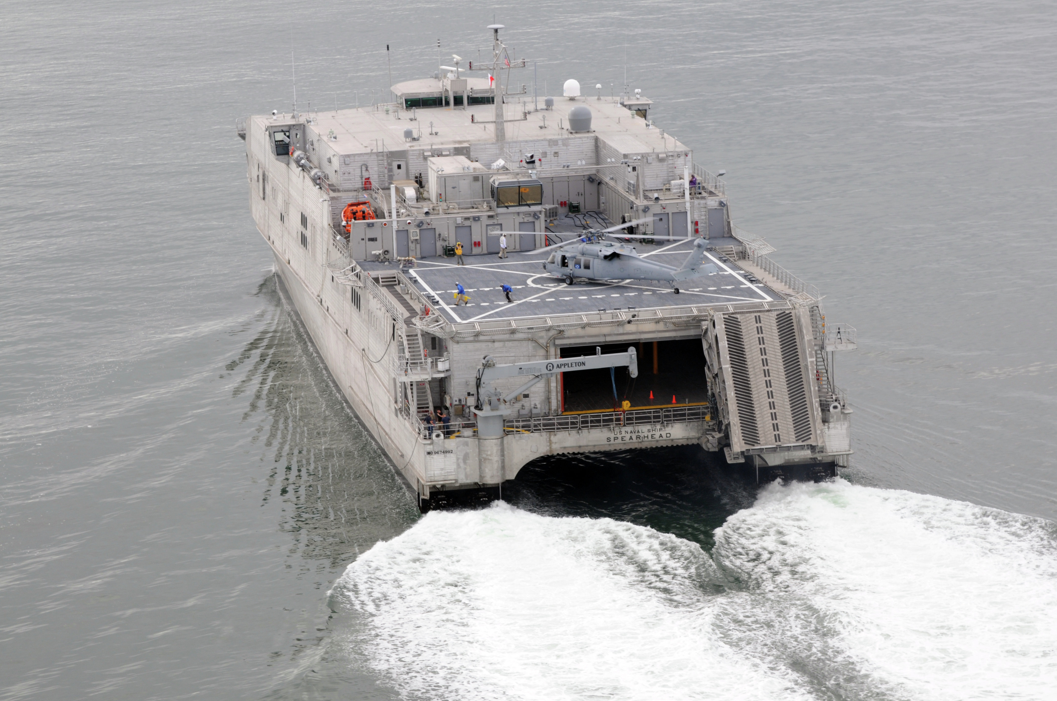 The Spearhead conducts high-speed trials at sea.