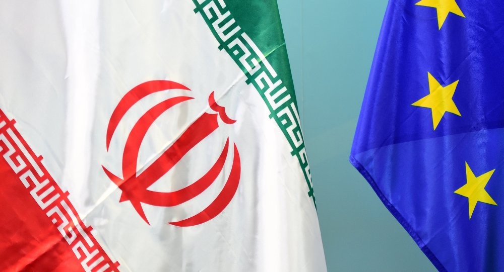 An Iranian (L) and a European flag
