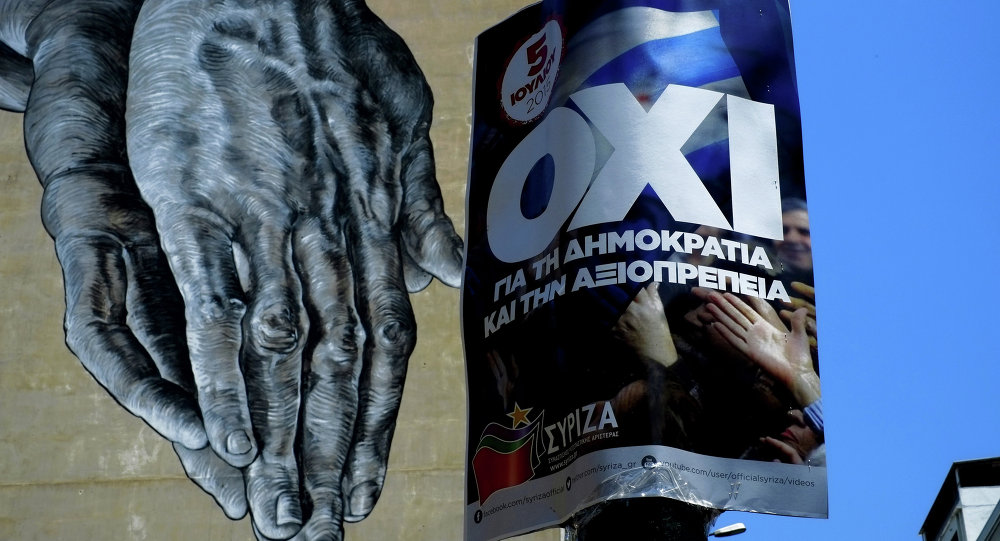 Hands painted on the wall of a building seen behind a poster for a NO vote in the upcoming referendum, in central Athens, Wednesday, July 1, 2015.
