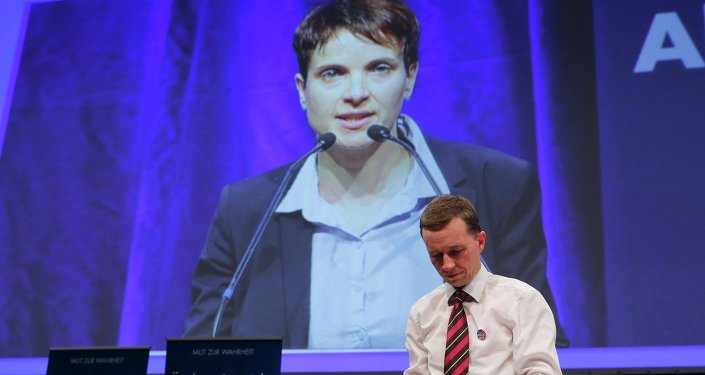 Frauke Petry appears on a large screen after being elected as leader of the eurosceptic party Alternative fuer Deutschland (AfD) while former leader Bernd Lucke wathces at the AfD's party congress in Essen, western Germany, July 4, 2015