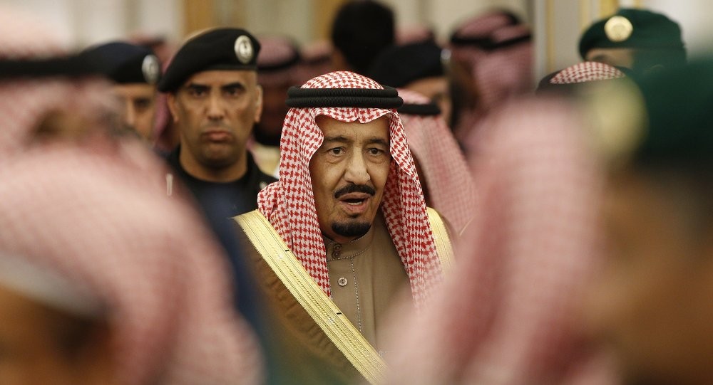 Saudi Arabia's King Salman attends a ceremony at the Diwan royal palace in Riyadh.