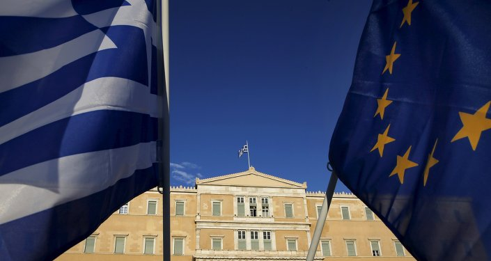 EU flag and a Greek flag