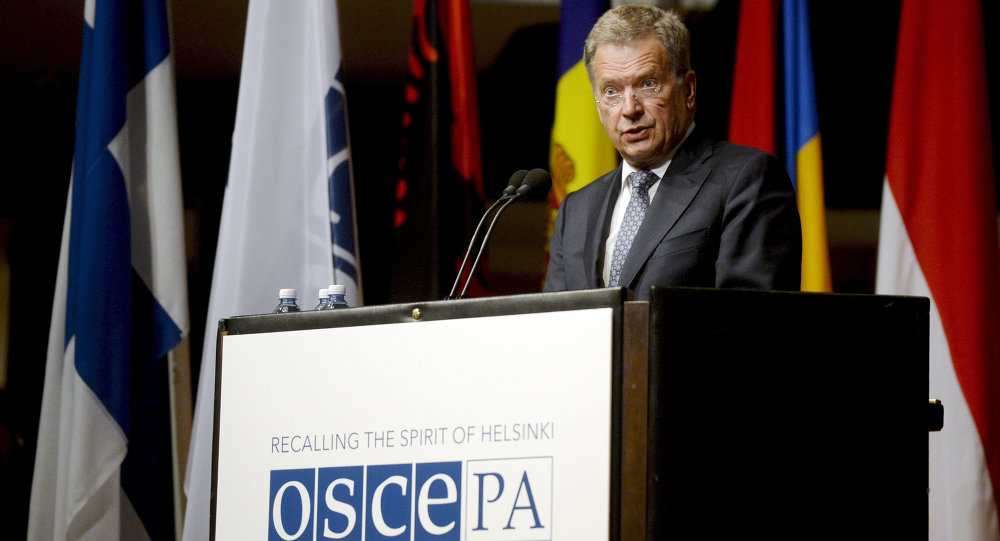 Finnish President Sauli Niinisto speaks at the opening of the 24th Annual Session of the OSCE Parliamentary Assembly in Helsinki, Finland