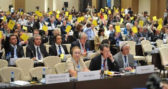 The OSCE Parliamentary Assembly comprises lawmaker members from 56 parliaments. The Holy See, which has no national parliament, also sends two representatives to the Assembly's meetings as guests of honor. Its HQ is in Paris.