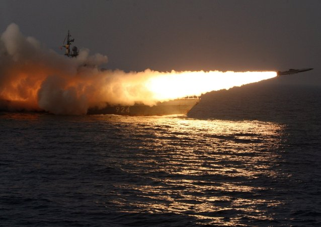 A Moskit supersonic anti-ship missile is launched from a missile boat