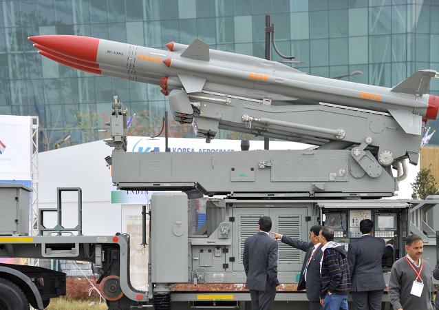 India's mobile surface-to-air missile defense system Akash is displayed during a press day of the Seoul International Aerospace and Defense Exhibition in Goyang, north of Seoul, on October 28, 2013