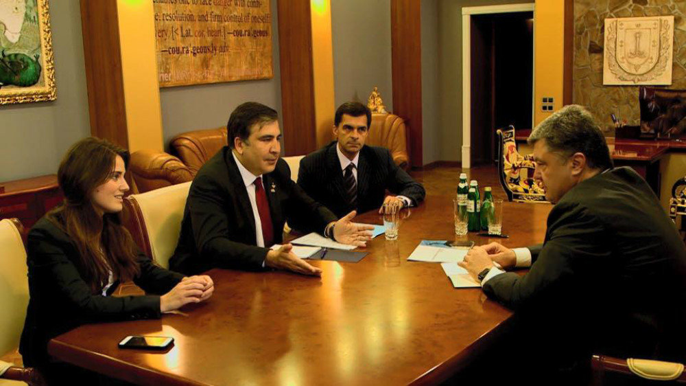 Odessa Governor Mikheil Saakashvili presenting his new deputies Yulia Marushevska and Vladimir Zhmak to Ukrainian President Petro Poroshenko.