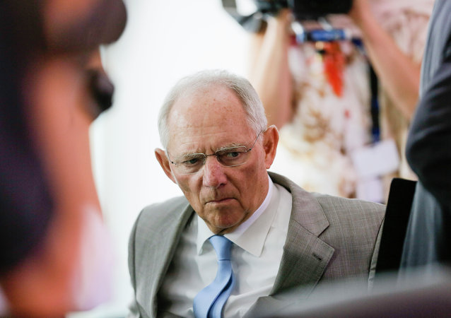 German Finance Minister Wolfgang Schaeuble arrives for the weekly cabinet meeting at the chancellery in Berlin, Wednesday, July 8, 2015