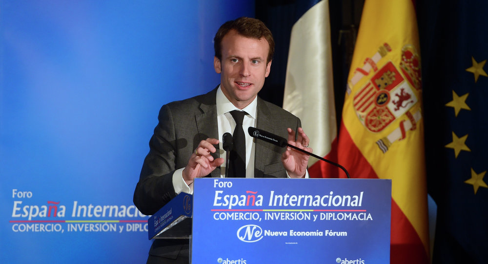 French Minister of Economy, Industry and the Digital Economy, Emmanuel Macron speaks as he takes part in the New Economy Forum in Madrid on July 10, 2015