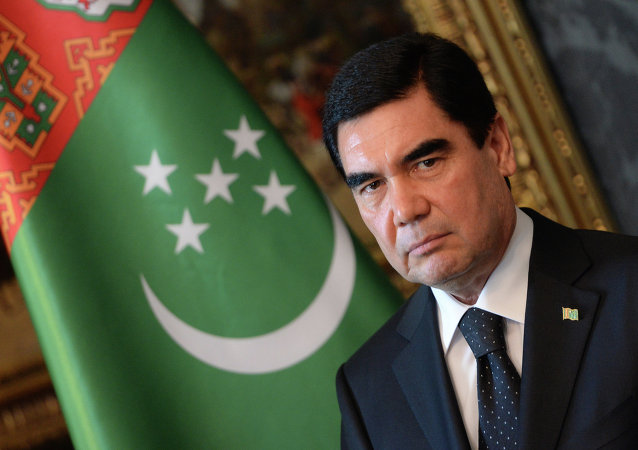 Turkmenistan's President Gurbanguly Berdimuhamedov is pictured during a signing ceremony in the Blue Hall at the presidential palace in Budapest on June 18, 2014