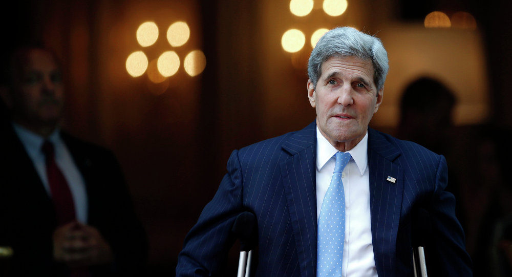 U.S. Secretary of State John Kerry leaves his hotel on the way to Mass at the St. Stephen's Cathedral in Vienna, Austria Sunday, July 12, 2015