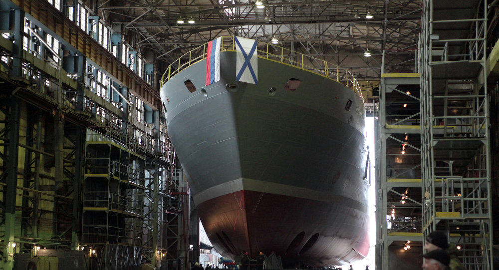 Launching ceremony of the search-and-rescue vessel (21300-class) Igor Belousov on the docks at Admiralty Shipyards.