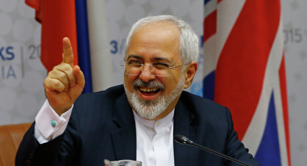 Iranian Foreign Minister Mohammad Javad Zarif reacts during a plenary session at the United Nations building in Vienna, Austria July 14, 2015