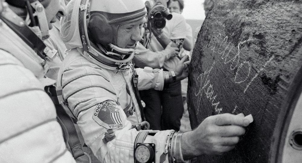 Cosmonaut Leonov  autographing