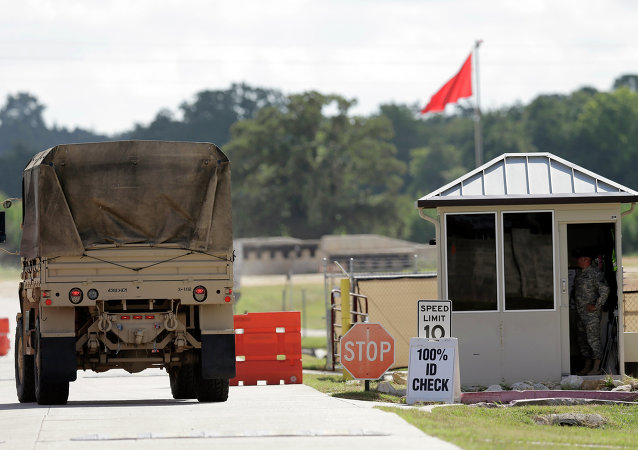 Military vehicles are seen at Texas Army National Guard Camp Swift, Wednesday, July 15, 2015, in Bastrop, Texas