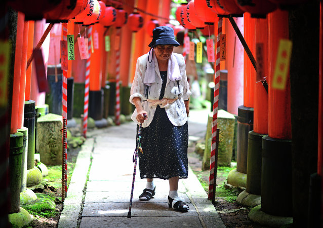Elderly Japanese woman makes the long inclined walk up to the top of Fushimi Inari.