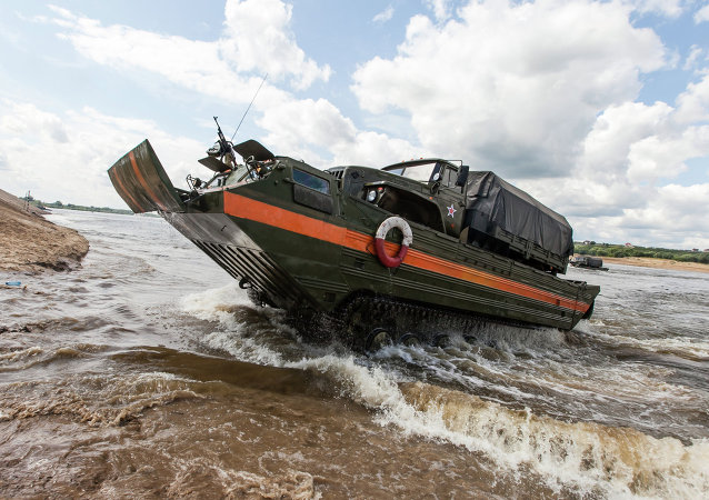 Open Water competition of Russian army's pontoon ferry units