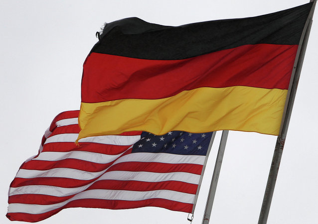 The German and the US flags fly at the US Airbase in Ramstein, southern Germany, on November 6, 2013