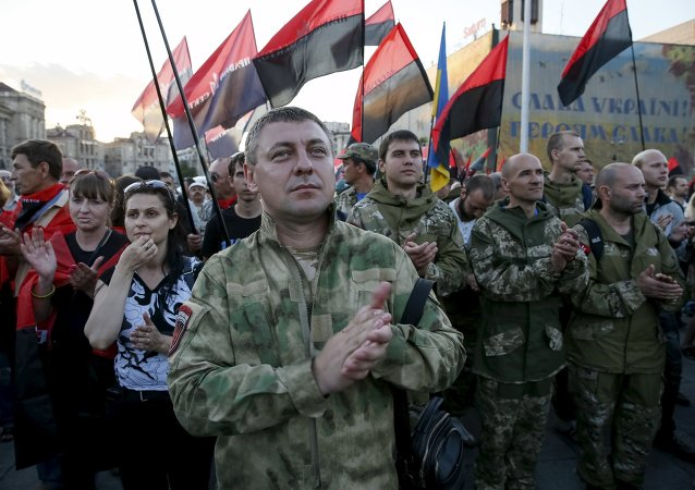 Members of the far-right radical group Right Sector and their supporters attend an anti-government rally in Kiev, Ukraine, July 21, 2015
