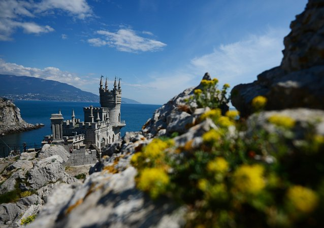 Swallow's Nest on top of the Aurora Cliff overlooking the Cape of Ai-Todor in Yalta, the Crimea.