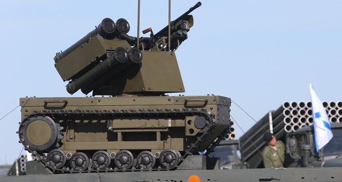 Platforma-M special reconnaissance remote-controlled transport platform during the relocation of the Baltic Fleet military equipment for a Victory Day Parade rehearsal in Kaliningrad.