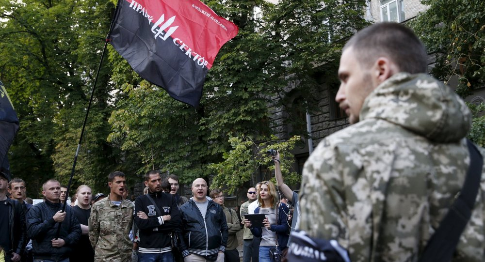 Protesters shout slogans at the parliament building in Kiev, Ukraine, July 11, 2015. Ukraine's President Petro Poroshenko has instructed law enforcement agencies to disarm and detain those who staged the shoot-out in the town of Mukacheve, Zakarpattia region, which left several people wounded and some reportedly killed, local media reported