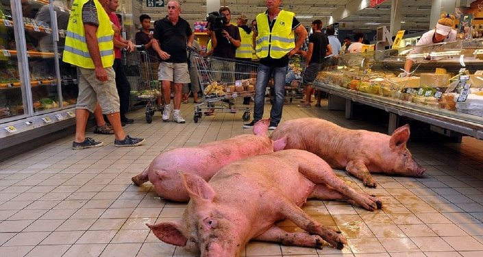 Out of the blue, three rather dirty pigs disturbed the peace in a supermarket in the French city of Agen.