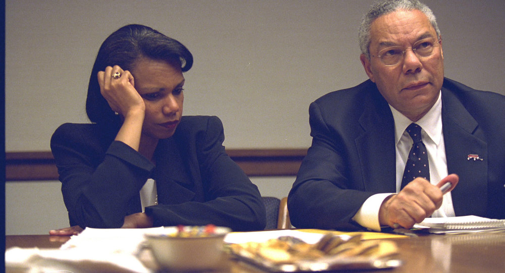 Secretary of State Colin Powell and National Security Advisor Condoleezza Rice in the President's Emergency Operations Center
