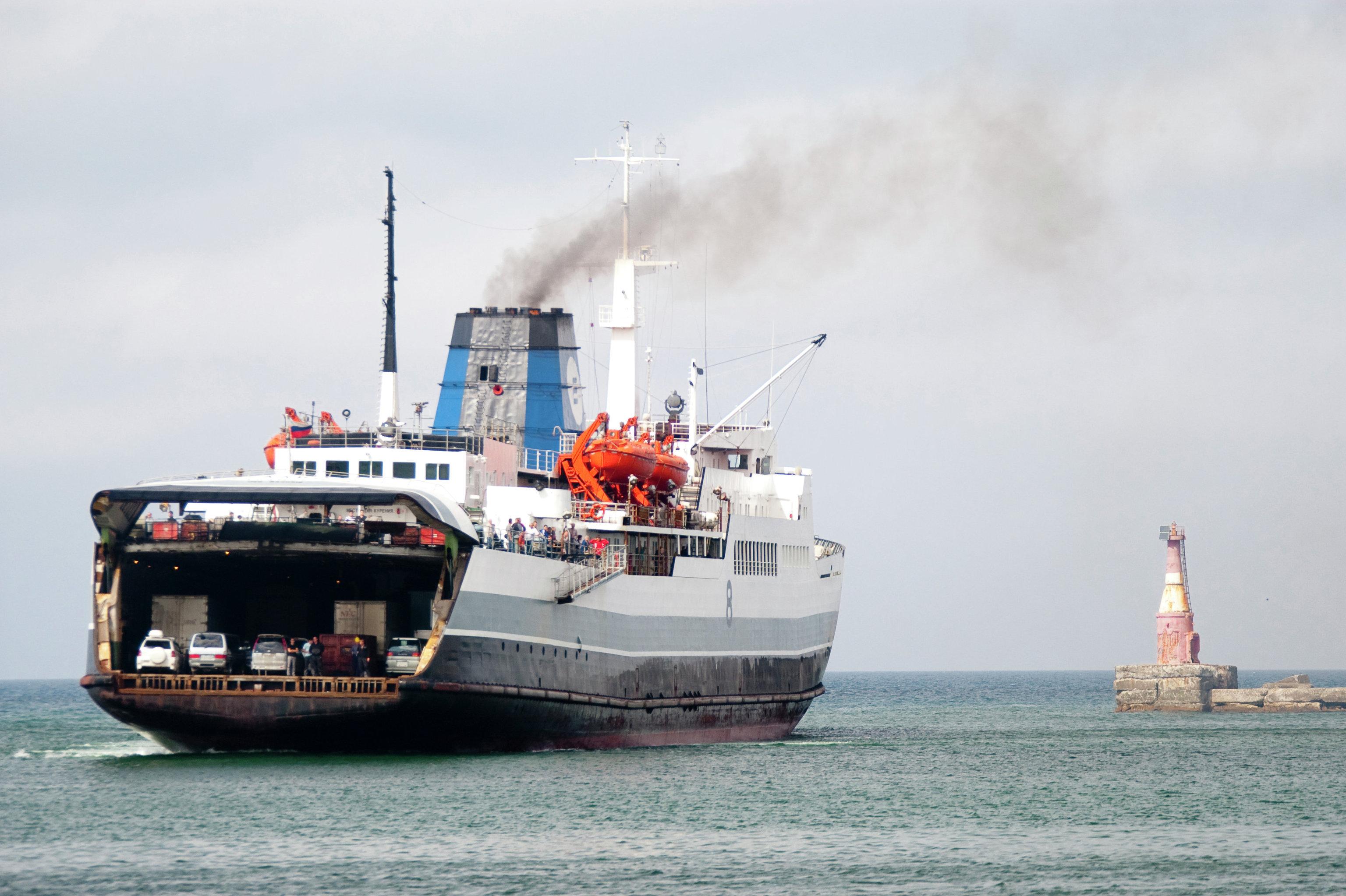 The freight ferry service from Kholmsk (Sakhalin) - Vanino (Khabarovsk Territory), seen entering the port of Kholmsk.