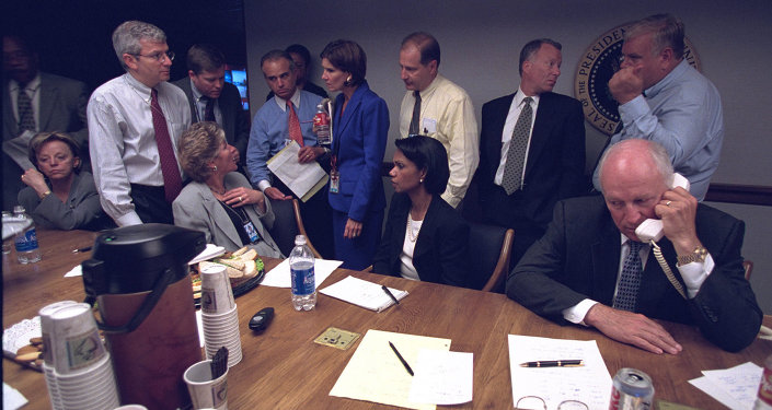 Vice President Cheney with Senior Staff in the President's Emergency Operations Center