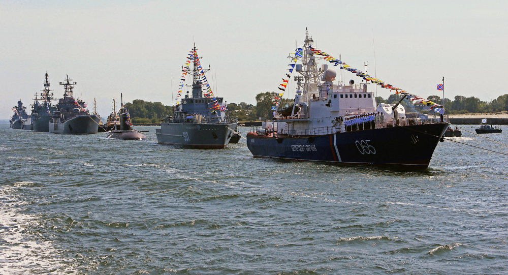 Rehearsal for Navy Day parade in Baltiysk