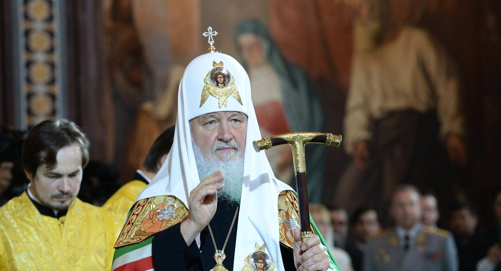 Patriarch Kirill holding the divine liturgy commemorating St. Vladimir in the Cathedral of Christ the Savior, Tuesday, July 28, 2015.