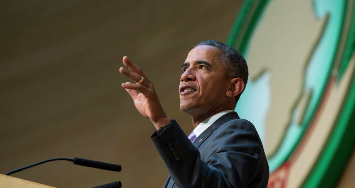 US President Barack Obama delivers a speech to the African Union, Tuesday, July 28, 2015, in Addis Ababa, Ethiopia