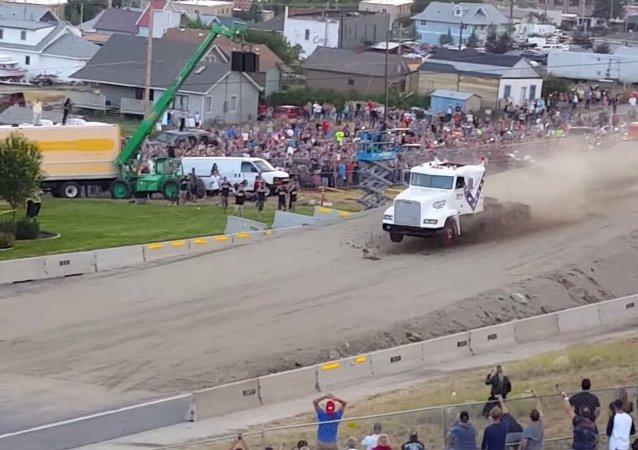 World record semi truck jump!