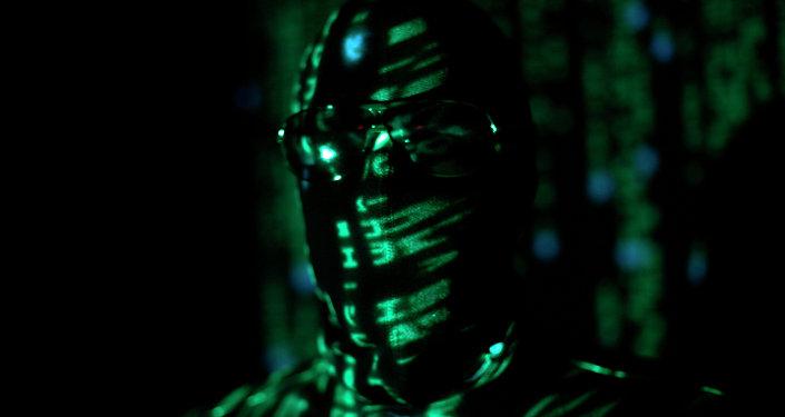 A ninja-style hacker with green matrix code