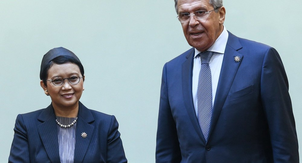 Russian Foreign Minister Sergei Lavrov is holding a meeting with his Indonesian counterpart Retno Marsudi