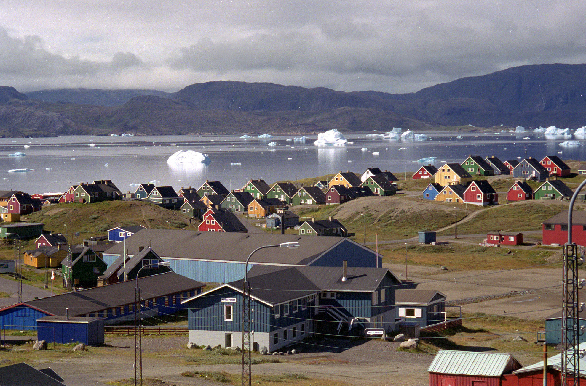 Giant icebergs float in the fjord in Narsaq, southern Greenland