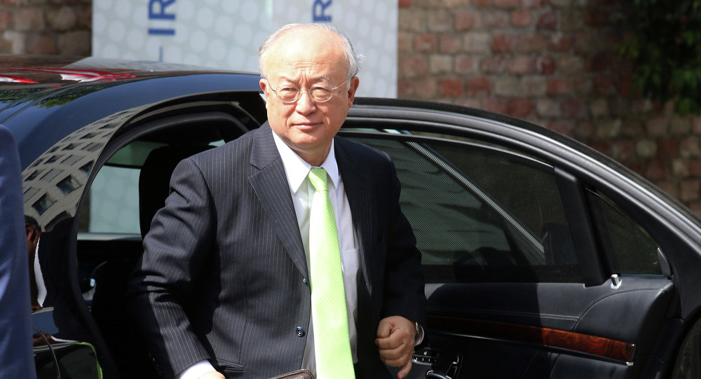Director General of the International Atomic Energy Agency, IAEA, Yukiya Amano of Japan arrives at the Palais Coburg where closed-door nuclear talks with Iran take place in Vienna, Austria, Tuesday, June 30, 2015