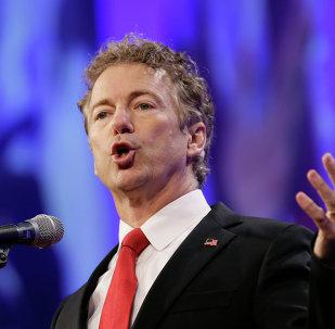 Republican presidential candidate Sen. Rand Paul speaks in Des Moines, Iowa