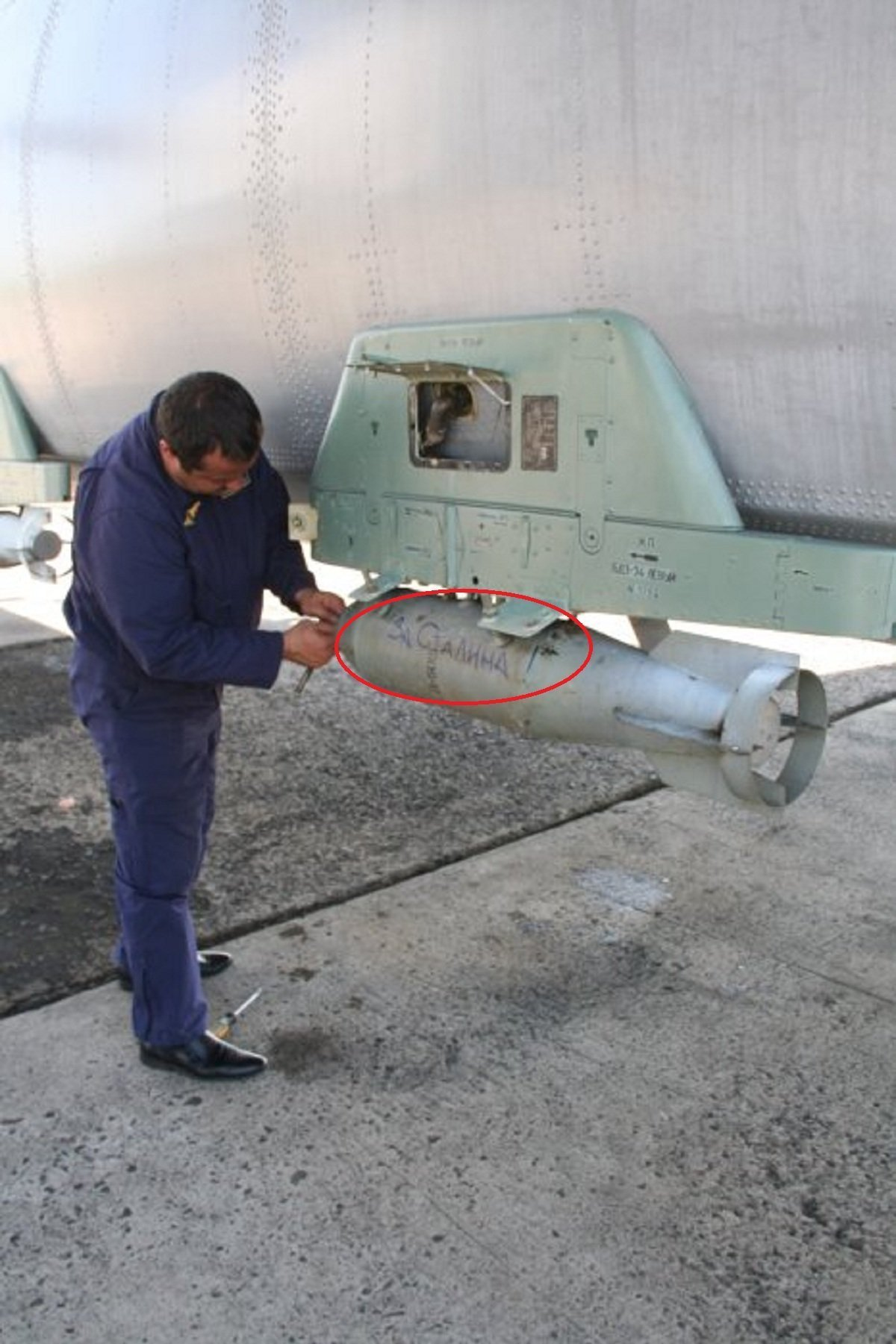 """Two of the bombs attached to military transport aircraft Antonov An-26, had the inscriptions """"To Berlin!"""" and """"For Stalin!"""",similar to those used during the Second World War by the Soviet Red Army in its fight against Nazi Germany."""