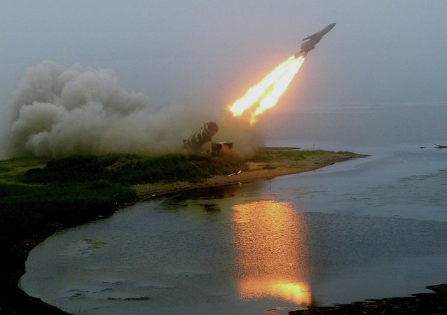 Launch of coastal rocket complex Redoubt during command post exercises of the Pacific Fleet on Sakhalin Island in the Sea of Okhotsk.