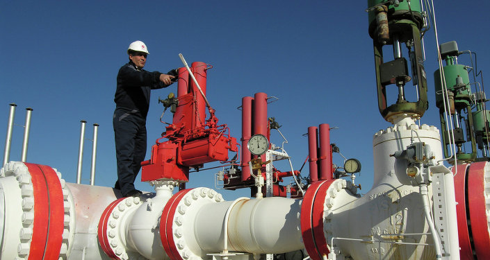 Gas pipeline worker checks the valves at the Yapracik installations.