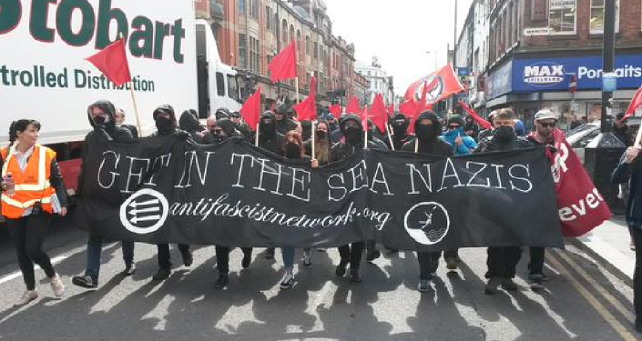 The activists of Britain's largest anti-fascist organizations, the Anti-Fascist Network (AFN) and Unite Against Fascism (UAF) have taken to the streets of Liverpool to oppose the so-called White Man March