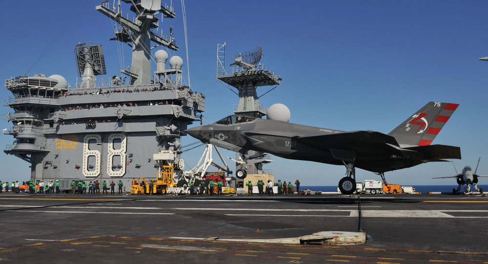 F-35C landing on USS Nimitz (CVN-68) in November 2014